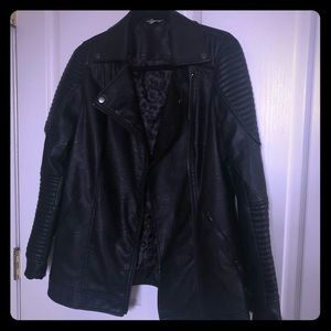 Leather-Look Longline Biker Jacket
